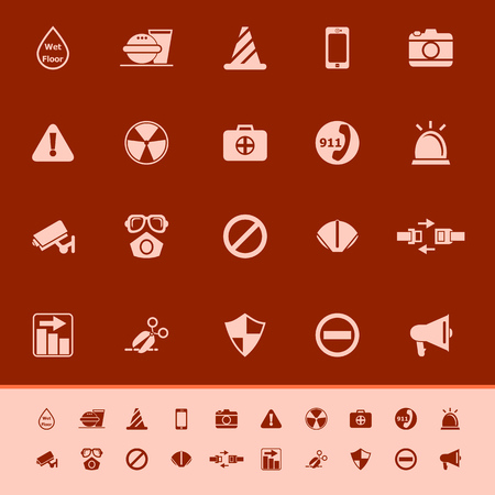 wet floor sign: General useful icons on gray background, stock vector Illustration