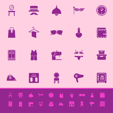 Dressing room color icons on pink background, stock vector Vector