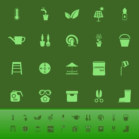 haus garten: Startseite Garten-Farb-Icons auf gr�nem Hintergrund, Vektorgrafik