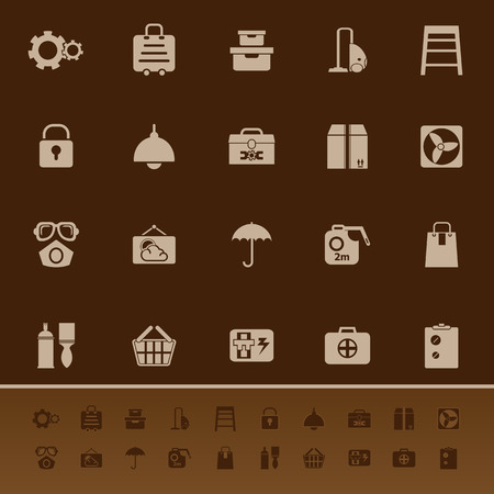 keeping room: Home storage color icons on brown background, stock vector