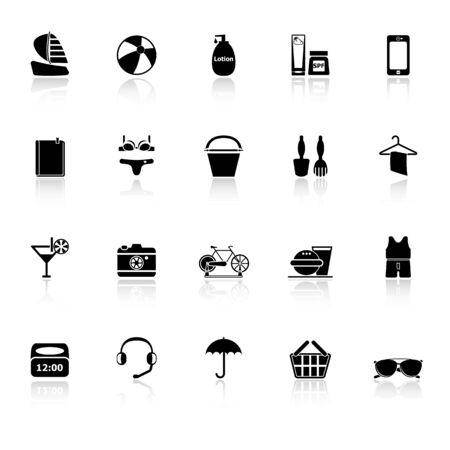reflect: Beach icons with reflect on white background, stock vector