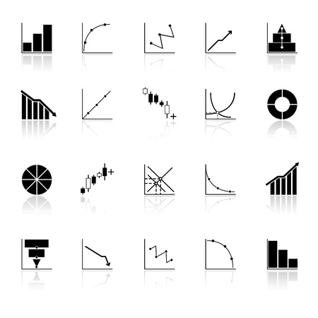 Diagram and graph icons with reflect on white background, stock vector