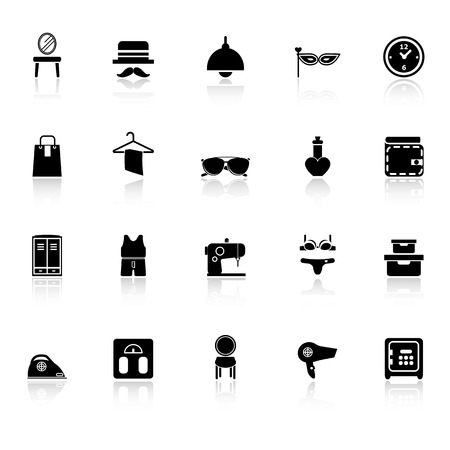 Dressing room icons with reflect on white background, stock vector Vector