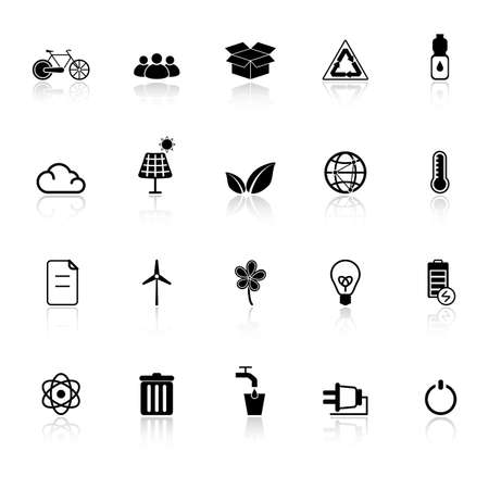 antipollution: Ecology icons with reflect on white background, stock vector Illustration