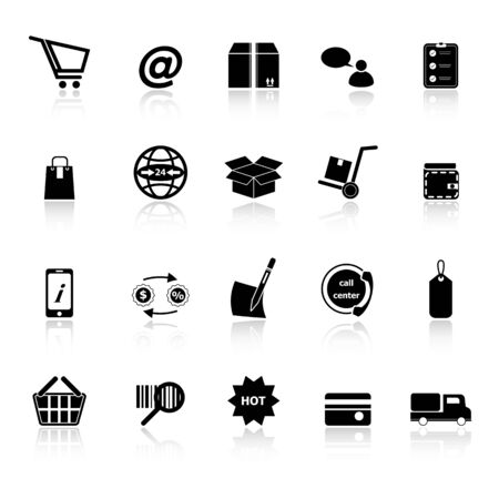 Ecommerce icons with reflect on white background, stock vector Vector