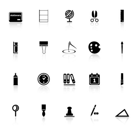 hilight: General stationary icons with reflect on white background, stock vector Illustration