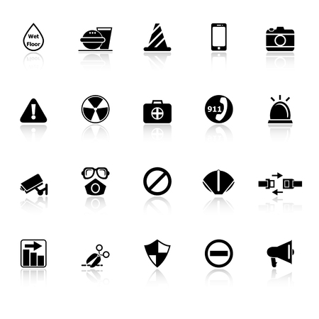 General useful icons with reflect on white background, stock vector Illustration