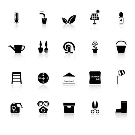 haus garten: Startseite Garten-Icons mit reflektieren auf wei�em Hintergrund, Vektorgrafik