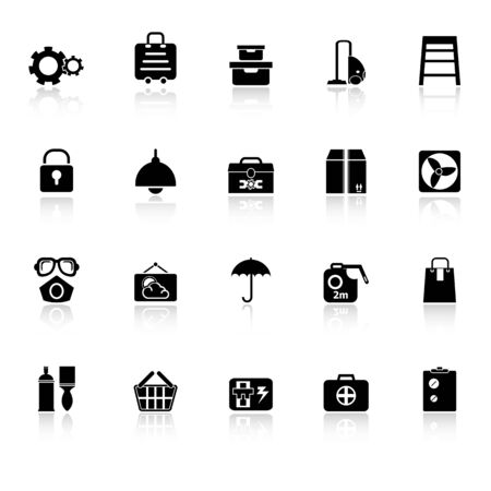 keeping room: Home storage icons with reflect on white background, stock vector