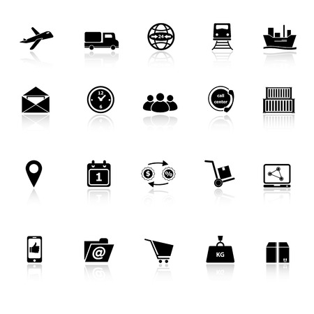 Logistic icons with reflect on white background, stock vector Illustration