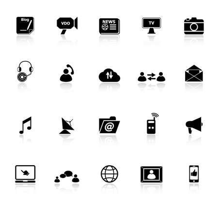 vdo: Media icons with reflect on white background, stock vector