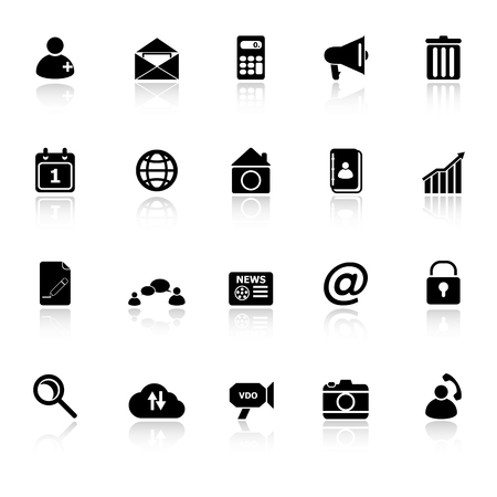 Mobile phone icons with reflect on white background, stock vector Vector