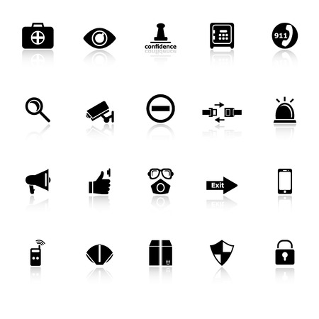 Security icons with reflect on white background, stock vector Stock Illustratie