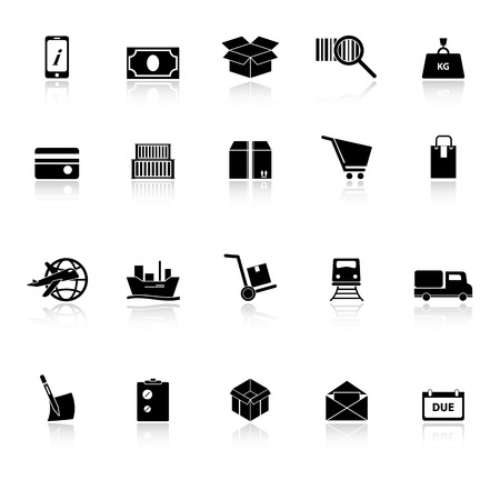 bogie: Shipment icons with reflect on white , stock vector Illustration