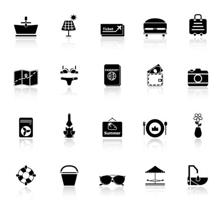 reflect: Summer icons with reflect on white , stock vector