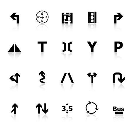 junction: Traffic sign icons with reflect on white , stock vector