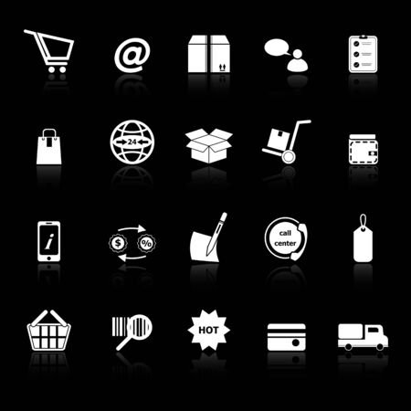 Ecommerce icons with reflect on black background , stock vector Vector