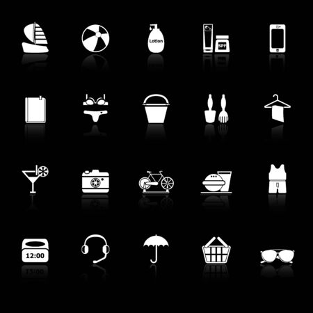 reflect: Beach icons with reflect on black background, stock vector