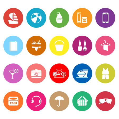 umbella: Beach flat icons on white background, stock vector