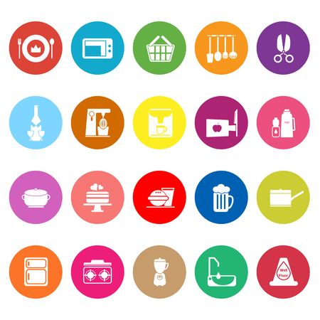Home kitchen flat icons on white background, stock vector Illustration