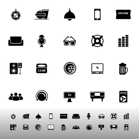 Home theater icons on white background, stock vector Vector