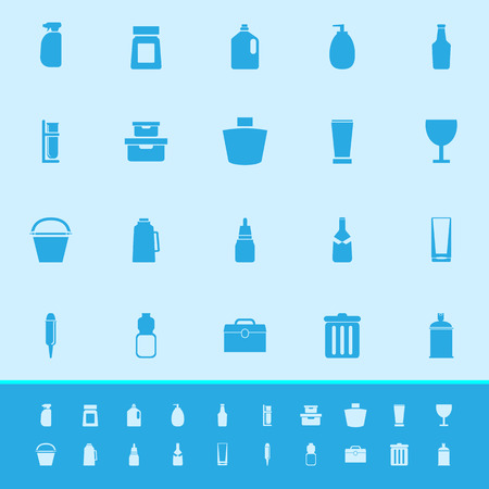 Design package color icons on blue background, stock vector Illustration
