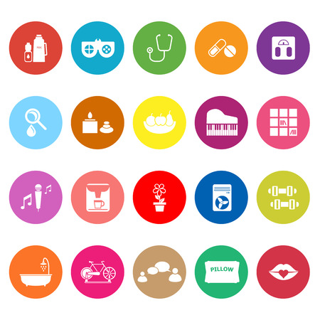 Wellness flat icons on white background, stock vector Illustration