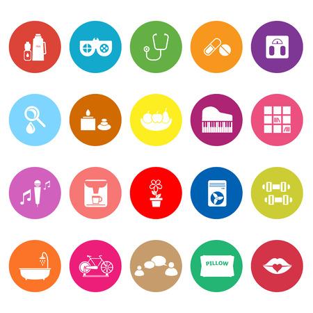 Wellness flat icons on white background, stock vector Stock Illustratie
