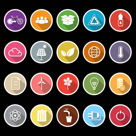 antipollution: Ecology icons with long shadow, stock vector