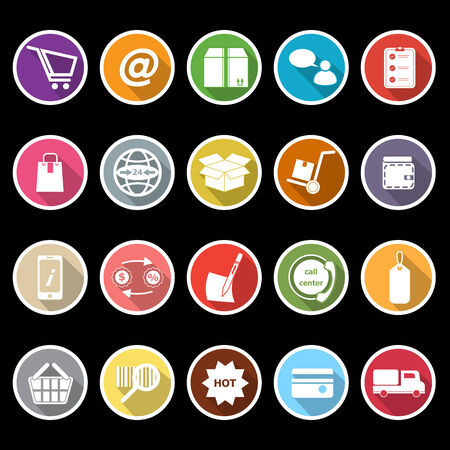 Ecommerce icons with long shadow, stock vector Vector