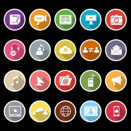 vdo: Media icons with long shadow, stock vector