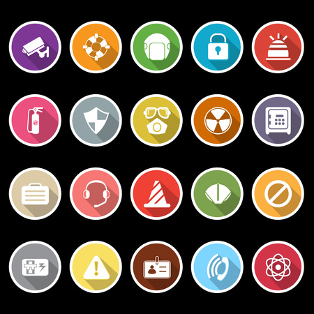 Safety icons with long shadow, stock vector