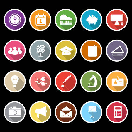 School icons with long shadow, stock vector Illustration