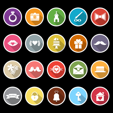 Wedding icons with long shadow, stock vector Vector