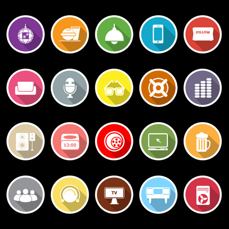 Home theater icons with long shadow Vector