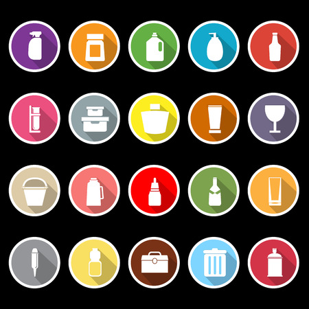 Design package icons with long shadow, stock vector