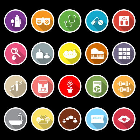Wellness icons with long shadow, stock vector Vector