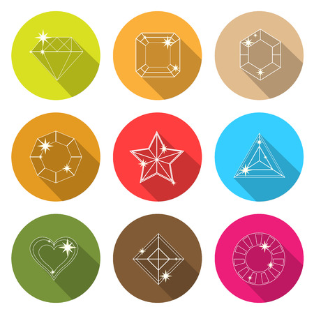 Gem stone cutting flat icons with long shadow, stock vector Vector