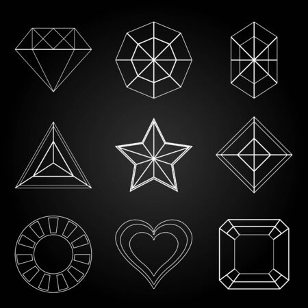General gem shape icons on dark background, stock vector Vector