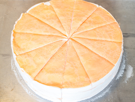 Homemade whipped cream crepe cake, stock photo photo