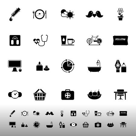Health behavior icons on white background, stock vector
