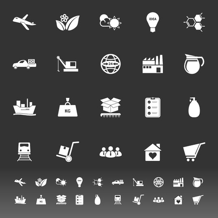 raw material: Supply chain and logistic icons on gray background, stock vector