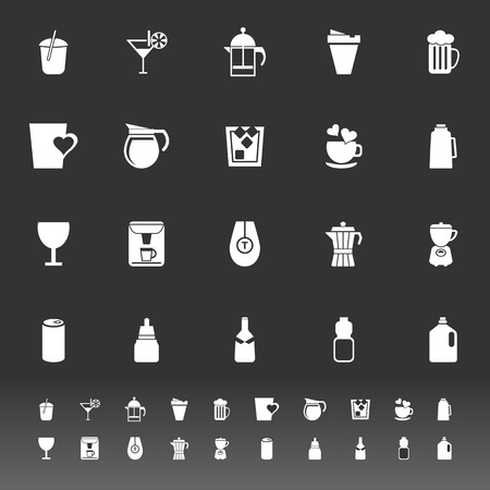 Variety drink icons on gray background, stock vector Vector