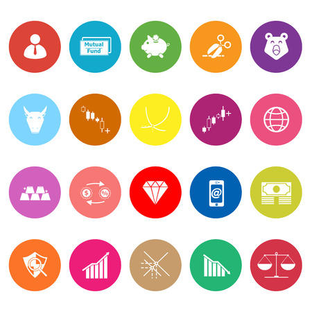 bearish business: Stock market flat icons on white background, stock vector