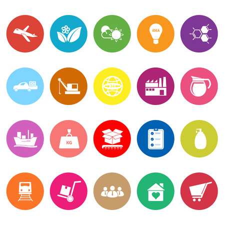 consume: Supply chain and logistic flat icons on white background, stock vector
