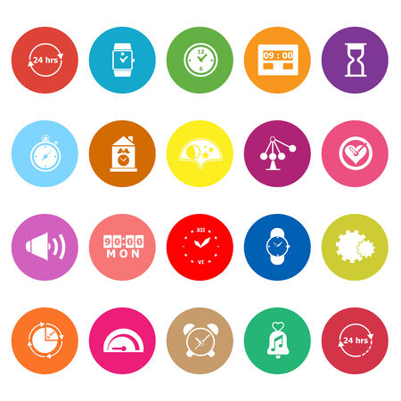 Time related flat icons on white background, stock vector