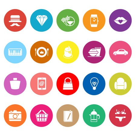 Department store item category flat icons on white background, stock vector