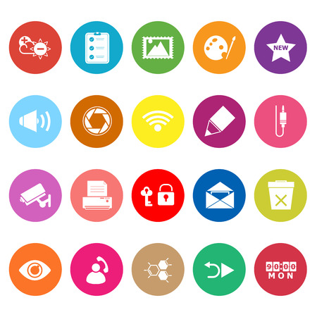 General computer screen flat icons on white background, stock vector Vector