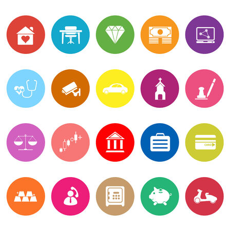 Insurance related flat icons on white background, stock vector Illustration