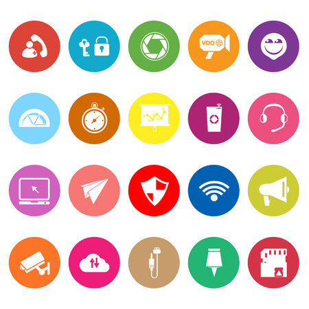 Smart phone screen flat icons on white background, stock vector Vector